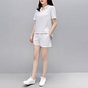 Mujer Chic de Calle Noche Verano T-Shirt Pantalón Trajes,Escote Redondo Un Color A Rayas Manga Corta Gasa Microelástico