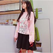 Mujer Simple Casual/Diario Otoño Invierno T-Shirt Falda Trajes,Escote Redondo Estampado Manga Larga