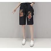 Mujer Chic de Calle Tiro Medio Microelástico Vaqueros Shorts Pantalones,Corte Recto Floral