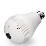 2mp cámara IP de 360 grados wi-fi bombilla de luz fisheye cámara de seguridad panorámica detección de movimiento