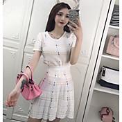 Mujer Casual Diario Casual Verano T-Shirt Falda Trajes,Escote Redondo Un Color Cuadrícula / Plaid Manga Corta