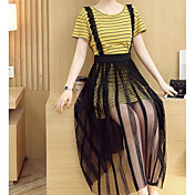 Mujer Casual Diario Casual Verano T-Shirt Falda Trajes,Escote Redondo A Rayas Bloques Manga Corta Microelástico