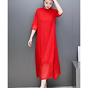 Mujer Gasa Vestido Casual/Diario Simple,Un Color Joya Midi Manga 3/4 Algodón Verano Tiro Medio Microelástico Fino
