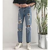 レディース ストリートファッション ミッドライズ ストレート 非弾性 ジーンズ パンツ ソリッド