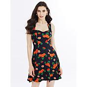Mujer Línea A Vestido Noche Playa Simple Bonito,Fruta Escote Corazón Sobre la rodilla Sin Mangas Jacquard Primavera Verano Tiro Alto
