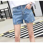 Mujer Chic de Calle Tiro Medio Microelástico Vaqueros Shorts Pantalones,Perneras anchas Un Color