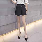 Mujer Sencillo Tiro Medio Microelástico Perneras anchas Pantalones,Perneras anchas Un Color