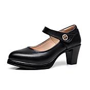 Mujer Tacones Zapatos formales PU Primavera Otoño Boda Casual Fiesta y Noche Zapatos formales Pedrería Hebilla Tacón Robusto Blanco Negro