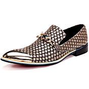 Unisex Zapatos Cuero de Napa Otoño Invierno Zapatos formales Oxfords Senderismo Punta Metálica Para Casual Vestido Fiesta y Noche Dorado
