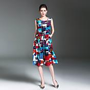 レディース ヴィンテージ ストリートファッション お出かけ カジュアル/普段着 Aライン ドレス,幾何学模様 ラウンドネック ミディ ノースリーブ コットン リネン 春 夏 ミッドライズ 伸縮性なし ミディアム