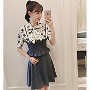 レディース 日常 カジュアル 夏 Tシャツ(21) スカート スーツ,現代風 シンプル シャツカラー ソリッド 五分袖