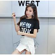 Mujer Simple Casual/Diario Verano T-Shirt Falda Trajes,Escote Redondo Refranes y citas Manga Corta