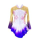 アイススケートウェア 女性用 女の子 長袖 スケーティング スカート&ドレス ドレス 高弾性 フィギュアスケートのドレス 保温 スパンデックス ナイロン スケートウェア 宝石で飾られた ラインストーン