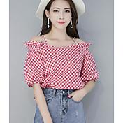 Mujer Simple Casual/Diario Verano Camisa,Escote Barco Cuadrícula Manga Corta Nailon Medio