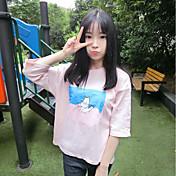 Mujer Bonito Casual/Diario Camiseta,Escote Redondo Estampado Manga 3/4 Algodón