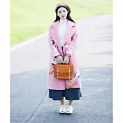 Mujer Bonito Casual/Diario Otoño Invierno Abrigo,Escote en Pico Un Color Manga Larga Algodón Largo