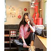 Mujer Simple Casual/Diario Camiseta,Escote Redondo Un Color A Rayas Manga 3/4 Algodón