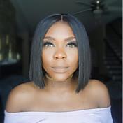 ショートボブ人間の毛のかつら黒の女性のための高密度のブラジルのレミーの自然な色のフロントレースボブのかつらの中型のキャップ