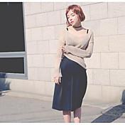 Mujer Regular Cardigan Casual/Diario Un Color Escote en V Profunda Manga Larga Algodón Acrílico Verano Fino Rígido