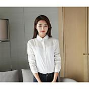 Mujer Simple Noche Camisa,Cuello Camisero Un Color Manga Larga Algodón