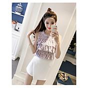 Mujer Chic de Calle Noche Verano T-Shirt Falda Trajes,Escote Redondo Un Color Floral Manga Corta Espalda al Aire Inelástica