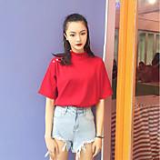 Mujer Simple Casual/Diario Camiseta,Escote Chino Un Color Media Manga Algodón
