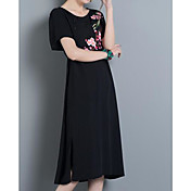 Mujer Corte Ancho Vestido Casual/Diario Un Color Bordado Escote Redondo Midi Manga Corta Algodón Primavera Tiro Medio Microelástico Medio