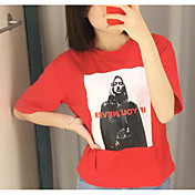 Mujer Simple Noche Verano Camiseta,Escote Redondo Estampado Manga Corta Algodón Fino