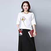 Mujer Tejido Oriental Casual/Diario Camiseta,Escote Redondo Floral Manga 3/4 Algodón Lino