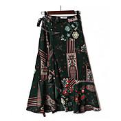 Mujer Noche Asimétrico Faldas,Línea A Verano Estampado
