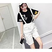 Mujer Simple Casual/Diario Verano T-Shirt Pantalón Trajes,Escote Redondo Estampado Manga Corta