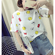 Mujer Simple Casual/Diario Camiseta,Escote Redondo Un Color Estampado Manga Corta Algodón