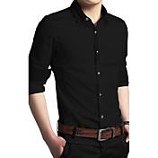Hombre Simple Trabajo Primavera Otoño Camisa,Cuello Camisero Un Color Manga Larga Algodón Medio