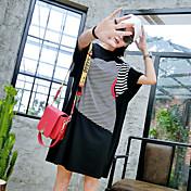 Mujer Sexy Discoteca Camiseta,Escote Redondo Un Color Manga Corta Algodón