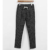 Mujer Sencillo Tiro Medio Microelástico Chinos Pantalones,Corte Ancho Bloques Cuadrícula