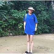 Mujer Chic de Calle Noche Camiseta,Escote Redondo Letra Manga Corta Algodón