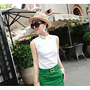 Mujer Simple Noche Camisa,Escote Redondo Un Color Sin Mangas Algodón