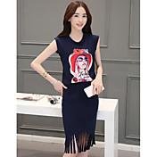 Mujer Simple Casual/Diario Verano T-Shirt Falda Trajes,Escote Redondo Chica Sexy Sin Mangas