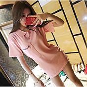 Mujer Simple Casual/Diario Verano Camiseta,Cuello Camisero Un Color Manga Corta Algodón Medio