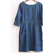 Mujer Línea A Vaina Vestido Noche Casual/Diario Vintage Chic de Calle,Un Color Escote Redondo Sobre la rodilla Manga Larga Algodón