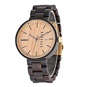 男性用 腕時計 ウッド 日本産 クォーツ 木製 ウッド バンド ラグジュアリー エレガント腕時計 ブラック