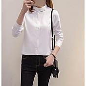 Mujer Simple Casual/Diario Camisa,Escote Chino Un Color Manga Larga Algodón Otro