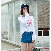 Mujer Simple Casual/Diario Camiseta,Escote Redondo Un Color Letra Manga Larga Algodón