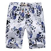 Hombre Sencillo Tiro Medio Microelástico Shorts Pantalones,Corte Ancho Floral Jacquard