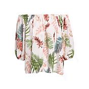 Mujer Simple Casual/Diario Camiseta,Escote Barco Un Color Floral Manga Corta Algodón