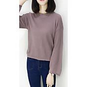 Mujer Regular Pullover Casual/Diario Un Color Escote Redondo Manga Larga Poliéster Primavera Otoño Medio Microelástico