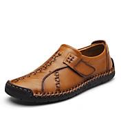 Hombre Zapatos Cuero de Napa Otoño Invierno Confort Zapatos de taco bajo y Slip-On Combinación Para Casual Fiesta y Noche Negro Marrón