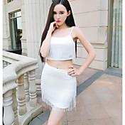 Mujer Simple Discoteca Verano Tank Top Falda Trajes,Escote en U Un Color Sin Mangas Encaje Borla Microelástico