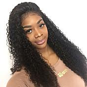 女性 人毛レースウィッグ 人毛 フロントレース 130% 密度 Kinky Curly かつら ブラック ミディアム丈 ロング丈 ナチュラルヘアライン 黒人女性用 100%手作業縫い付け