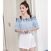 Mujer Simple Casual/Diario Verano T-Shirt Falda Trajes,Con Tirantes Floral Manga Corta
